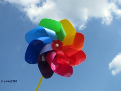 Life  has  so  many  colors,  as  you  can  see  in  it. (ewka2205) Tags: blue summer sky white windmill colors fun toy colorful joy kolory lato wiatrak zabawka ewka2205 niebio