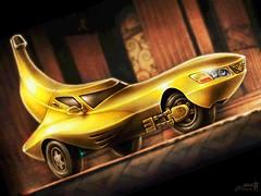 Bakana! Banana: The Banana Mobile I (hinxlinx) Tags: art banana batman captain car color fruit hero look mobile painting parody pen super vehicle wheels yellow