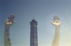 (   ) (scott w. h. young) Tags: sky sun film birds 35mm nikon fuji arms doubleexposure minaret mosque syria aleppo