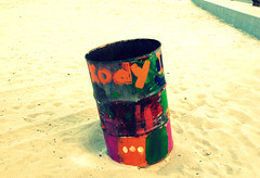 barrel on the beach (tabbytoes) Tags: beach trash barrel clean biloxi recycle spinks beachproject tabithadupas