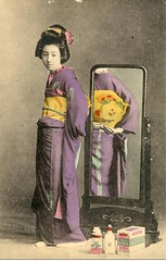 The obi Conflict (Maiko Child - Japan ladies) Tags: old portrait beauty japan vintage dance folklore maiko geisha postcards kimono obi tinted