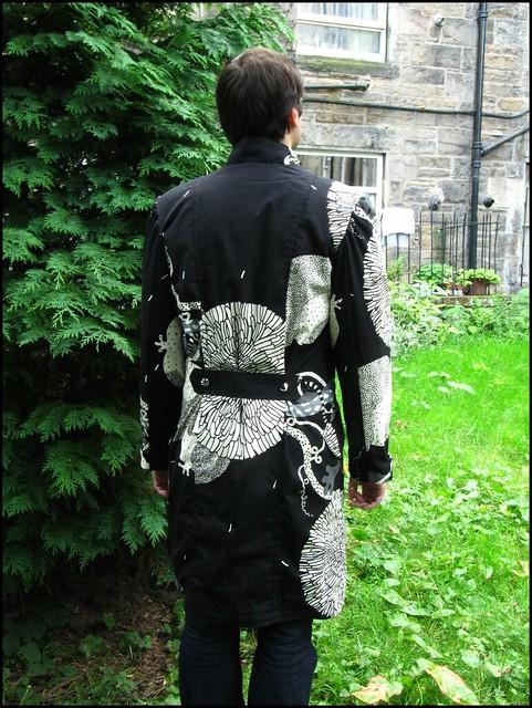coat of amazingness; handmade, sewn, sewing, original,coat, handsewn, black, white, ikea fabric