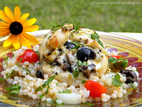 Feta and Olive Chicken Rollatini with Israeli Couscous and Ladolomono