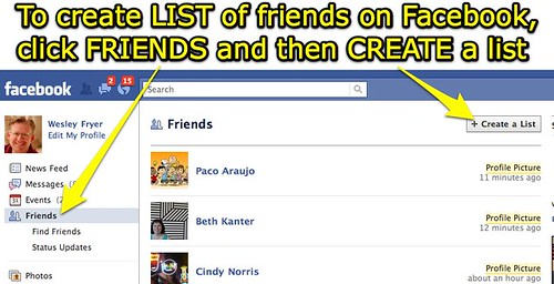 Create a Facebook Friends List
