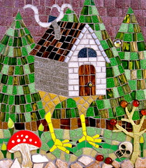 Baba Yaga's Hut (Black Cat Bazaar) Tags: door red brown house tree green art window mushroom glass stone fairytale forest tile skull artist folkart purple witch mosaic gray hut wicked etsy travertine mythology chickenfeet fable babayaga sarahcampbell tumbled mosaicchallenge blackcatbazaar