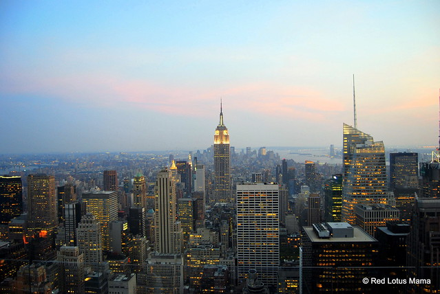 View of NYC at dusk from Top of the Rock