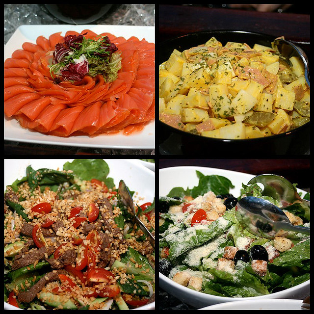 Smoked salmon, German potato salad, Thai beef salad and Caesar Salad