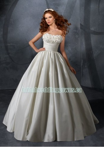 Taffeta strapless ball gown wedding gown