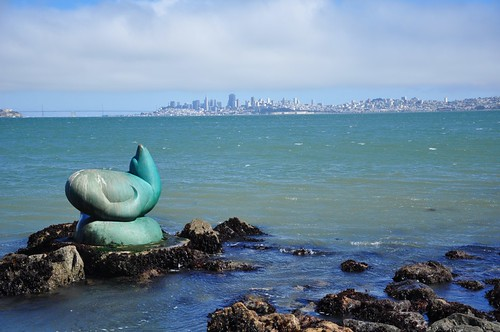 Seal Statue and View of San Francisco From Sausalito