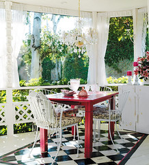 sun-porch-covered (mscott218) Tags: windows red white black home floors design interiors outdoor interior style grace barbara chandelier curtains dining interiordesign drapery