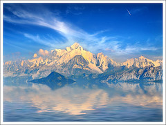 Paramount (Jean-Michel Priaux) Tags: blue sky mountain snow france alps ice nature illustration photoshop montagne alpes painting nikon paint suisse flood swiss surreal reflect montage paysage montblanc anotherworld landsape sauvage mattepainting d90 priaux vanagram digitalflood