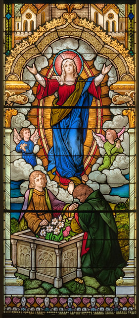 Saint Francis Borgia Roman Catholic Church, in Washington, Missouri, USA - stained glass window of the Assumption.