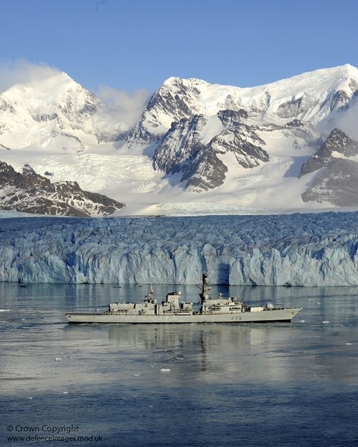 HMS Portland Sails Near Huge Glacier in South Georgia