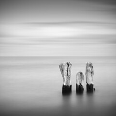Three (Jeff Gaydash) Tags: longexposure blackandwhite water square seascapes michigan greatlakes pilings upperpeninsula lakesuperior whitefishpoint lakescapes nd110