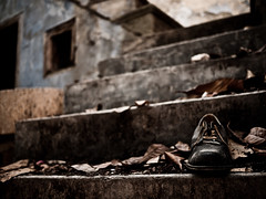 (ssj_george) Tags: camera old house black blur building abandoned window up wall closeup stairs lens concrete four lumix shoe aperture paint dof village open bokeh decay object pano wide steps cyprus panasonic micro 17 pancake 20mm 20 leafs laces dmc 43 thirds  f17 gf1 lefkara  leukara   georgestavrinos  ssjgeorge