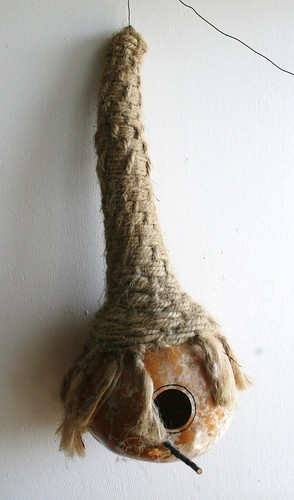 Birh House Gourd with woven jute accent
