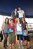 Airla, Diana, Phyl and Marta with Aaron and Eanna on stilts at Sea Sessions 2010