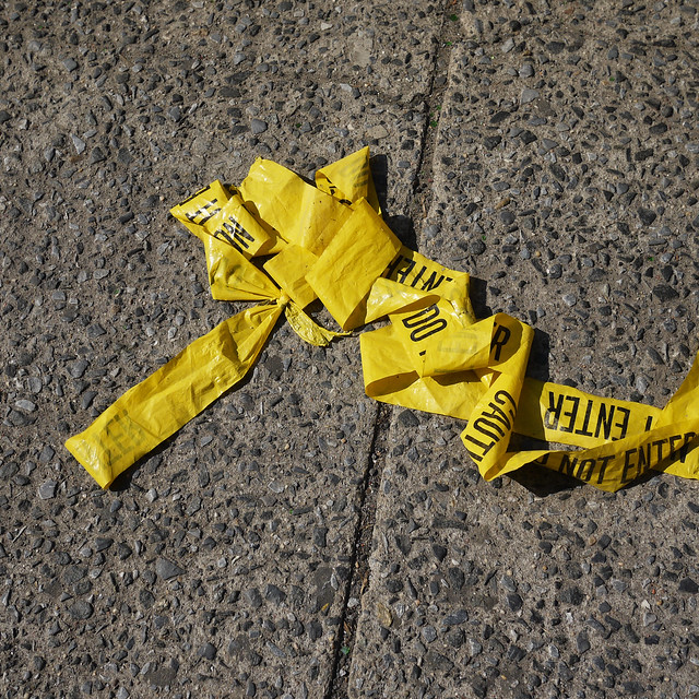 Yellow caution tape #walkingtoworktoday