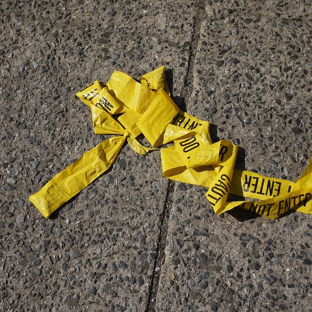 Yellow caution tape #walkingtoworktoday