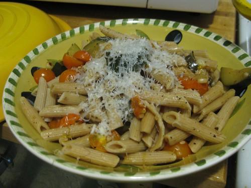 Zucchini & corn pasta