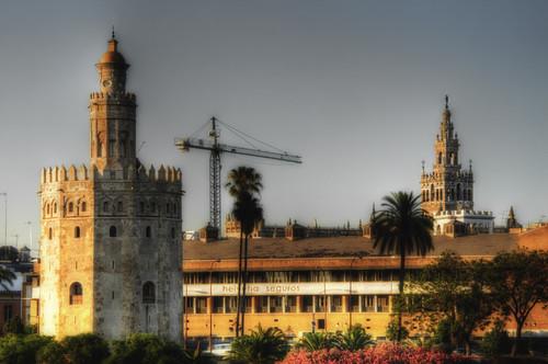 Seville. Torre del Oro & Giralda. Sevilla.