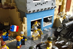 The Liberation of Cherbourg (6) (Dunechaser) Tags: usa france army us tank unitedstates lego jeep military worldwarii american armor rhino ww2 normandy liberation mb m4 diorama sherman willys 1944 cherbourg allied battleofnormandy brickarms m4a3 culinhedgerowcutter battleofcherbourg