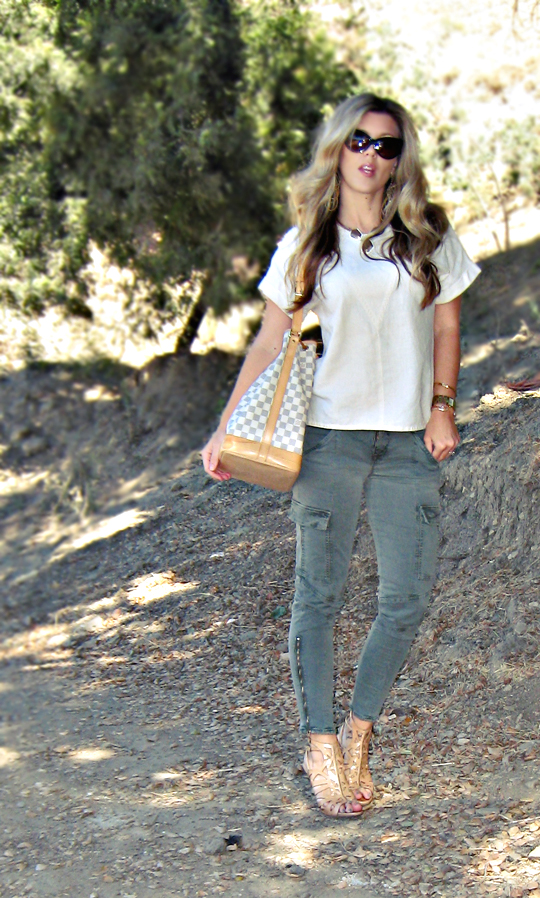 in the hills+tom ford anouk sunglasses+louis vuitton bucket bag+j brand houlihans