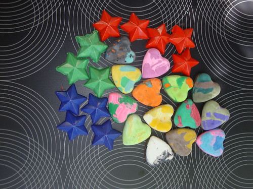 Recycled Crayons: Hearts & Stars