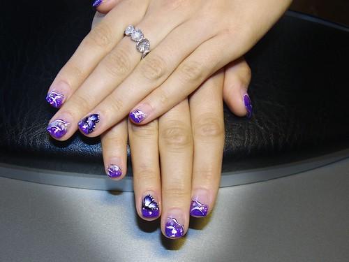 Lila álom (díszített francia műköröm) / Purple dream (acrylic french nail art)