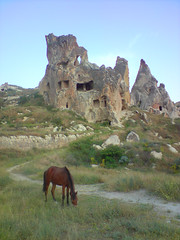 Grazing Horse & Ruins, Capadocia Turkey (flatworldsedge) Tags: cameraphone travel horse broken stone turkey ruins bluesky carving erosion heath grasses shrubs drystonewall grazing goreme cavedwellings nevsehir mobilephonephoto capadocia neareast scrubland