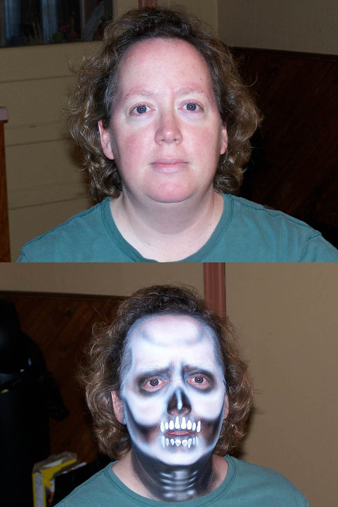skeleton make-up, before and after