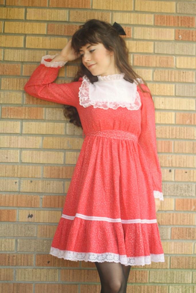 vintage lace yoke dress