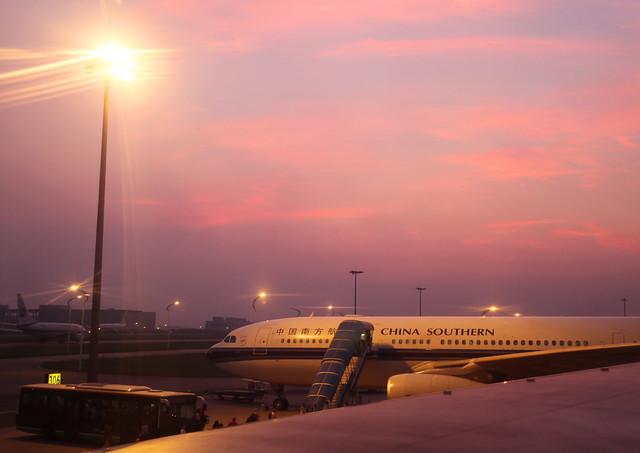 Baiyun International Airport after sunset, Guangzhou, China