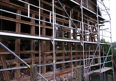 A half-timbered barn needs to be reconstructed (:Linda:) Tags: architecture barn germany village timber thuringia scaffold halftimbered reconstruction fachwerk timberframing baugerst timberconstruction brden