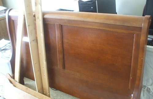 Sleigh bed now apart