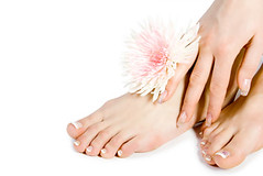 Woman's foot and hand with flowers on white (Coco Locco Salon and Spa) Tags: girls people flower nature water beautiful beauty comfortable fruit naked person foot one healthy women toe hand skin body finger leg petal cleaning clear health human single medicine manicure pedicure females care relaxation healthcare individual caucasian lifestyles purity individuality wellbeing
