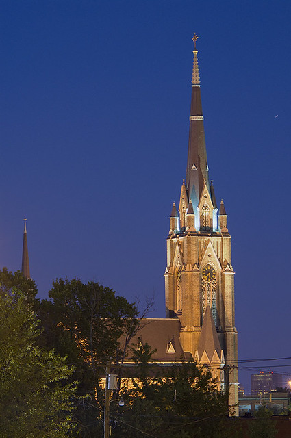 Saint Francis de Sales Oratory, in Saint Louis, Missouri, USA - view of tower at night