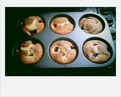 Happy face raspberry muffins