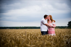Taylor Engagement (C W Photo) Tags: york uk wedding summer portrait love field engagement kiss couple wheat yorkshire strobist caelenweber