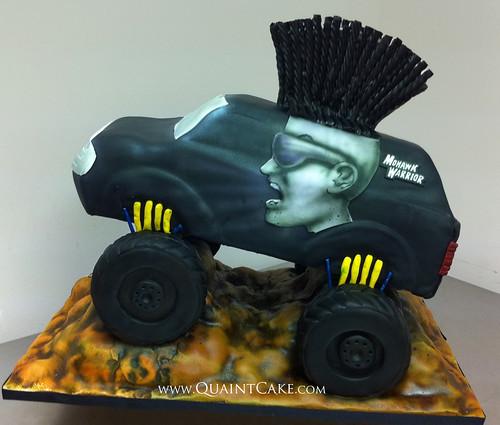 Mohawk Warrior Monster Truck Cake