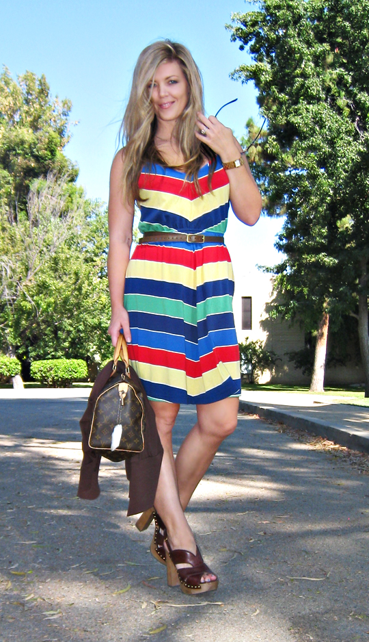 striped dress+miu miu shoes+louis vuitton speedy bag