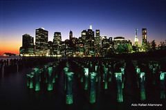 New York, New York (Rafakoy) Tags: city longexposure light ny newyork color colour reflection film water colors brooklyn night 35mm reflections dark lights pier photo nikon colours kodak manhattan 28mm slide f100 nikonf100 positive nikkor ektachrome e6 e100vs kodakektachromee100vs realphotography afnikkor2880mmf3356g epsonv600 epsonperfectionv600photo epsonperfectionv600 nikkonaf2880mmf3356g aldorafaelaltamirano rafaelaltamirano aldoraltamirano