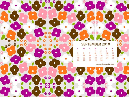September 2010 Desktop Calendar Wallpaper - Impatiens
