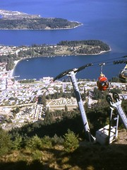Queenstown, Otago, South Island, New Zealand, 1968 (east med wanderer) Tags: newzealand otago queenstown 1968 lakewakatipu bobspeak gondolalift skylinerestaurant