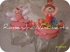 Potinhos de vidro para lembrana de nascimento. (Rossandra Nascimento) Tags: feltro liblula bailarina fitas lembrancinhadenascimento lembranadematernidade potinhodevidro