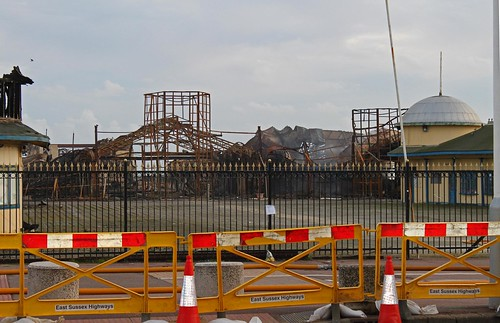 The new sad view from the White Rock Theatre of Hastings pier
