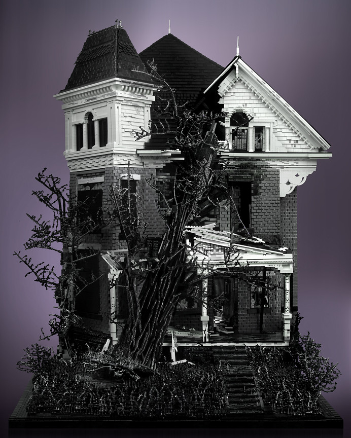 Three Story Victorian with Tree