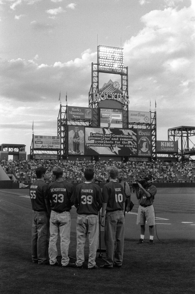 1997 08 Thede - TOSOS at Coors Field - 08 Mike Davidson, Scott Severtson, Jake Parker, and Adam Thede