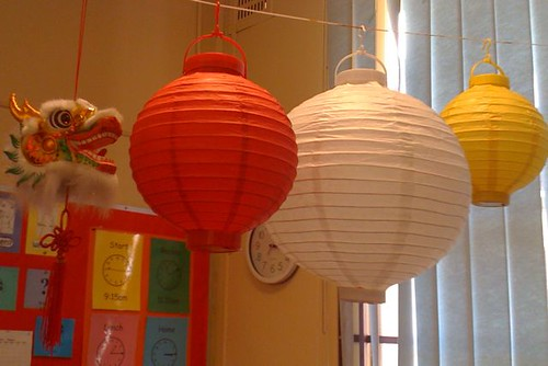 Chinese dragon and lanterns