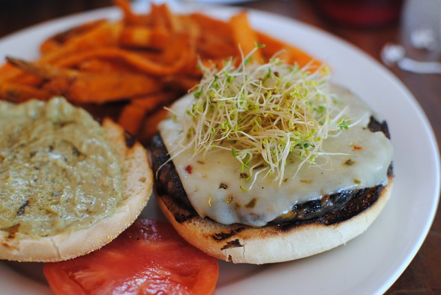 black bean burger and sweet potato fries